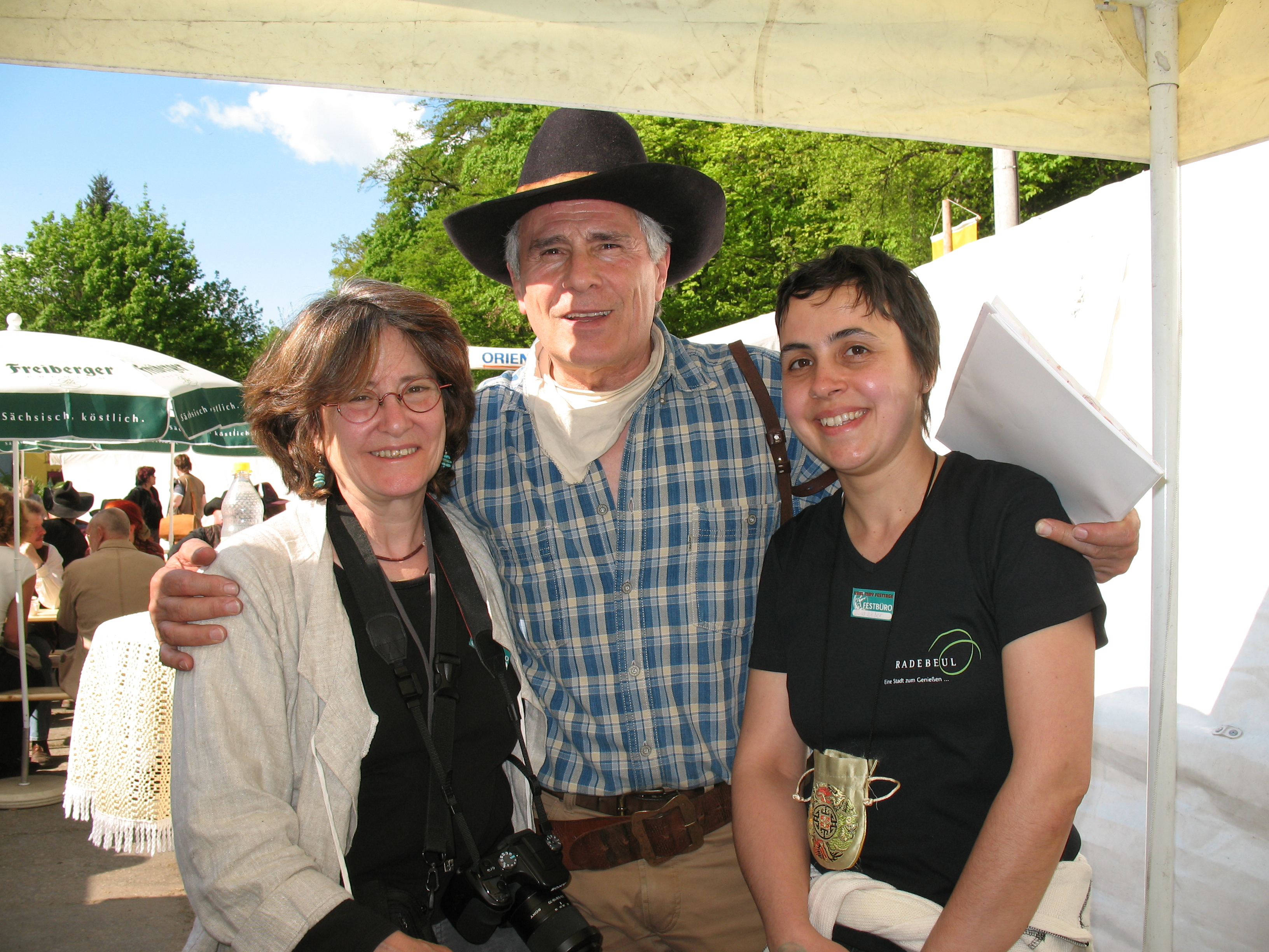 Dana Weber, Gojko Mitic, and me at the Karl May festival in Radebeul, 2008