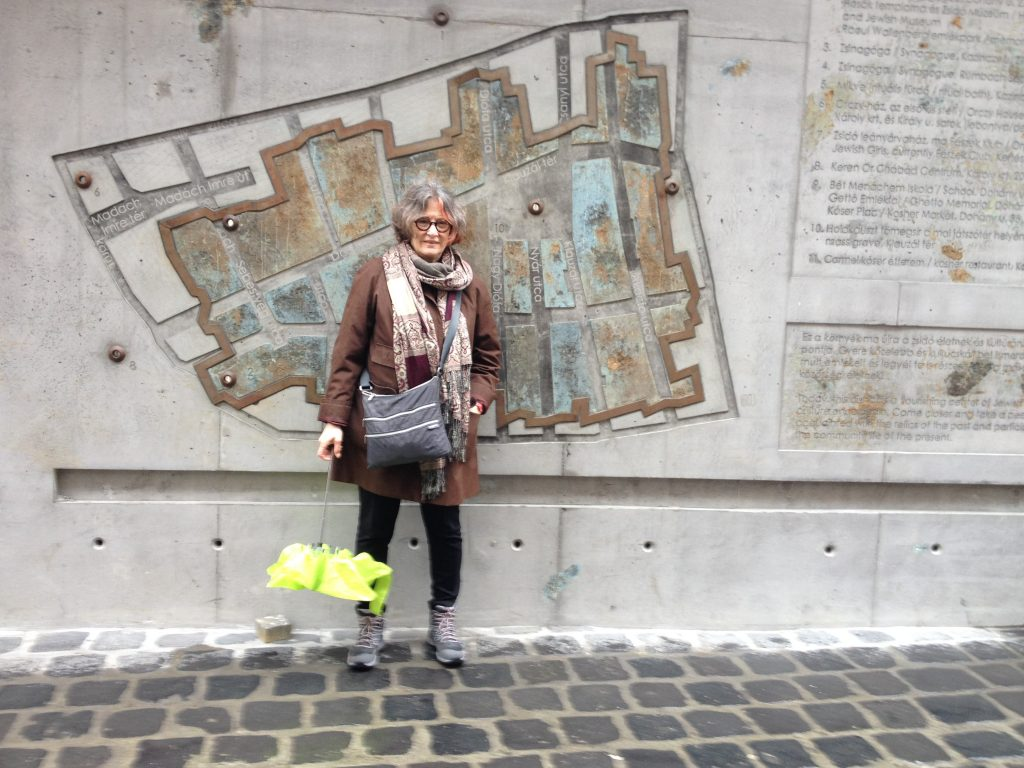 Me at the map of the Budapest Ghetto, at the Ghetto Memorial in the city's 7th District