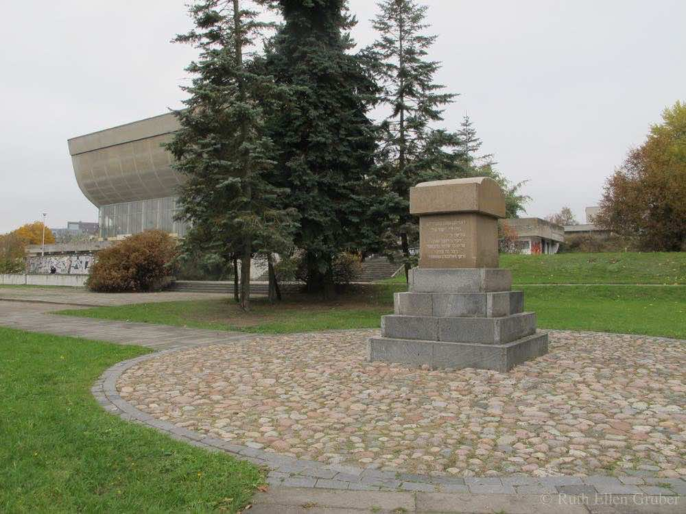 Monument at the Old Jewish Cemetery in Vilnius, with Sports Hall in the background